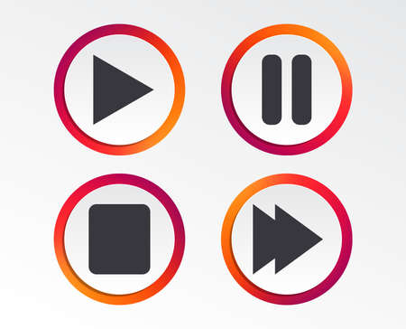 Player navigation icons. Play, stop and pause signs. Next song symbol. Infographic design buttons. Circle templates. Vector