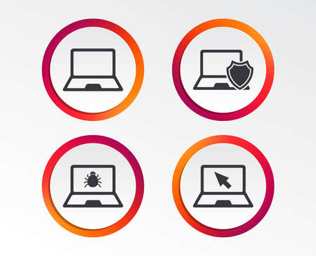 Notebook laptop pc icons. Virus or software bug signs. Shield protection symbol. Mouse cursor pointer. Infographic design buttons. Circle templates. Vector  イラスト・ベクター素材
