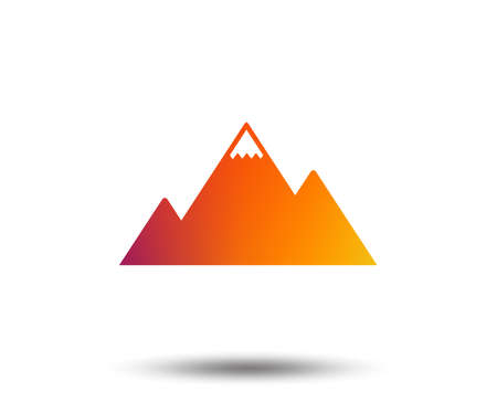 Mountain icon. Mountaineering sport sign. Leadership motivation concept. Blurred gradient design element. Vivid graphic flat icon. Vector