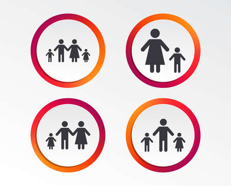 Family with two children icon. Parents and kids symbols. One-parent family signs. Mother and father divorce. Infographic design buttons. Circle templates. Vector