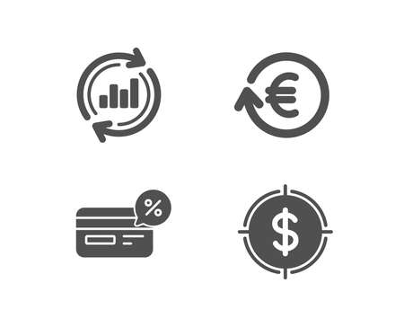 Set of Exchange currency, Cashback and Update data icons. Dollar target sign. Reshresh exchange rate, Non-cash payment, Sales chart. Aim with usd.  Quality design elements. Classic style. Vector
