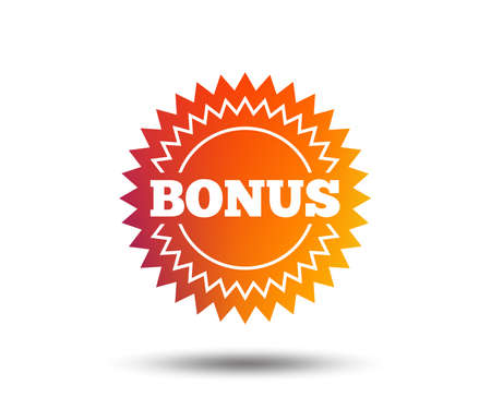 Bonus sign icon. Special offer star symbol. Blurred gradient design element. Vivid graphic flat icon. Vector Illustration