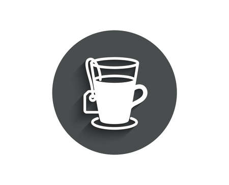 Tea with bag simple icon. Hot drink sign. Fresh beverage symbol. Circle flat button with shadow. Vector Ilustração