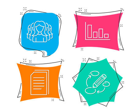 Set of Histogram, Copy files and Women group icons. Keywords sign. Economic trend, Copying documents, Lady service. Marketing strategy.  Flat geometric colored tags. Vivid banners. Vector Illustration