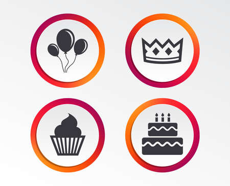 Birthday crown party icons. Cake and cupcake signs. Air balloons with rope symbol. Infographic design buttons. Circle templates. Vector