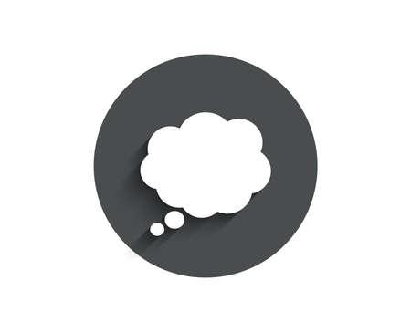 コミックスピーチバブルシンプルなアイコン。チャットサイン。通信またはコメント記号。影付きの円フラット ボタン。ベクトル  イラスト・ベクター素材