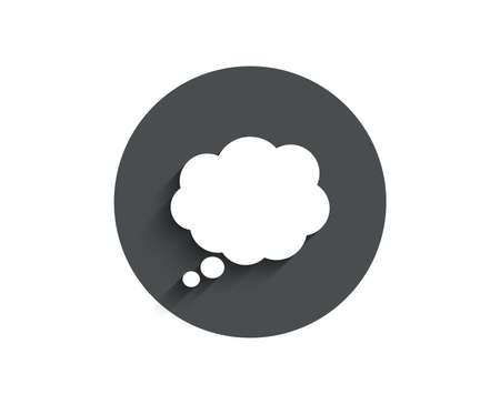 Comic Speech bubble simple icon. Chat sign. Communication or Comment symbol. Circle flat button with shadow. Vector