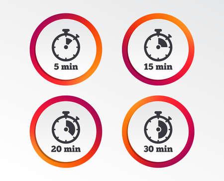 Ikony timera. Symbole stopera na 5, 15, 20 i 30 minut. Infografika przycisków. Szablony okręgów. Wektor