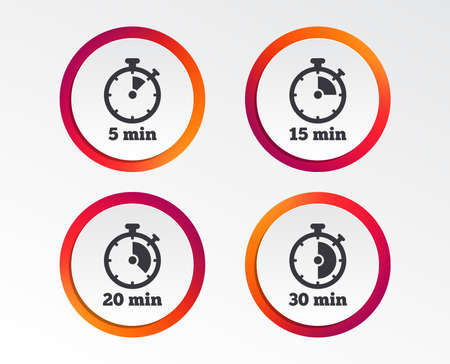 Timer icons. 5, 15, 20 and 30 minutes stopwatch symbols. Infographic design buttons. Circle templates. Vector