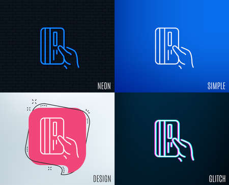 Glitch, Neon effect. Credit card line icon. Hold Banking Payment card sign. ATM service symbol. Trendy flat geometric designs. Vector