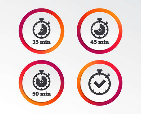 Timer icons. 35, 45 and 50 minutes stopwatch symbols. Check or Tick mark. Infographic design buttons. Circle templates. Vector