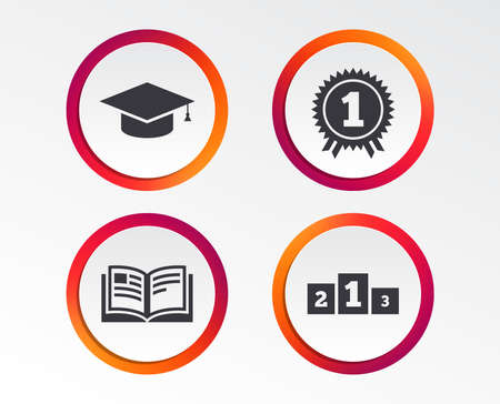 Graduation icons. Graduation student cap sign. Education book symbol. First place award. Winners podium. Infographic design buttons. Circle templates. Vector