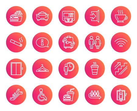 Public Services line icons. Set of Elevator, Cloakroom and Taxi signs. Exit, ATM and Escalator symbols. Wifi, Lift and Restaurant food. Information, Coffee and Smoking. Trendy gradient circle buttons