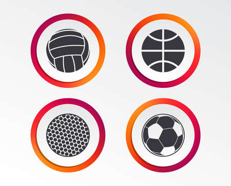 Sport balls icons. Volleyball, Basketball, Soccer and Golf signs. Team sport games. Infographic design buttons. Circle templates. Vector Illustration