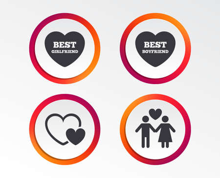 Valentine day love icons. Best girlfriend and boyfriend symbol. Couple lovers sign. Infographic design buttons. Circle templates. Vector
