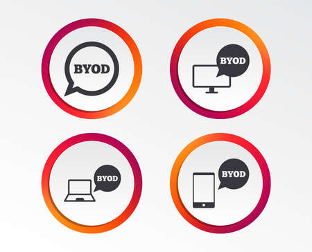 BYOD icons. Notebook and smartphone signs. Speech bubble symbol. Infographic design buttons. Circle templates. Vector