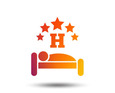 Five star Hotel apartment sign icon. Travel rest place. Sleeper symbol. Blurred gradient design element. Vivid graphic flat icon. Vector 向量圖像