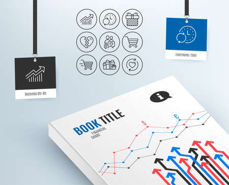 Set of Update time, Demand curve and Surprise icons. Dating chat, Holiday presents and Break up signs. Market sale, Delivery shopping and Update relationships symbols. Vector