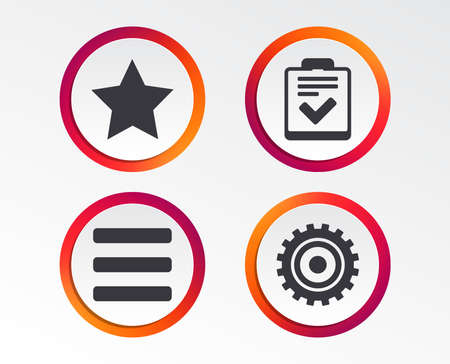 Star favorite and menu list icons. Checklist and cogwheel gear sign symbols. Infographic design buttons. Circle templates. Vector
