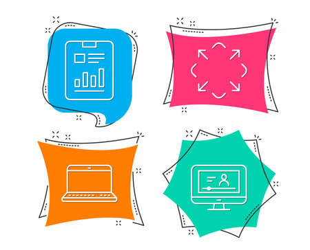 Set of Notebook, Maximize and Report document icons. Online video sign. Laptop computer, Full screen, Page with charts. Video exam. Flat geometric colored tags. Vivid banners. Trendy graphic design Illustration