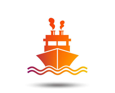 Ship or boat sign icon. Shipping delivery symbol. Smoke from chimneys or pipes. Blurred gradient design element. Vivid graphic flat icon. Vector