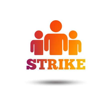 Strike sign icon. Group of people symbol. Industrial action. People protest. Blurred gradient design element. Vivid graphic flat icon. Vector Illustration