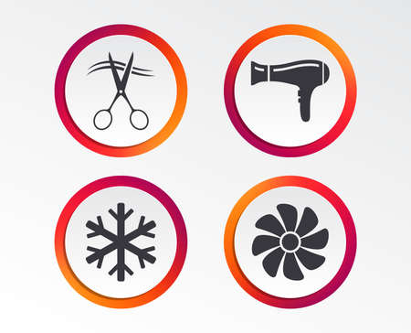 Hotel services icons. Air conditioning, Hairdryer and Ventilation in room signs. Climate control. Hairdresser or barbershop symbol. Infographic design buttons. Circle templates. Vector Foto de archivo - 98945138