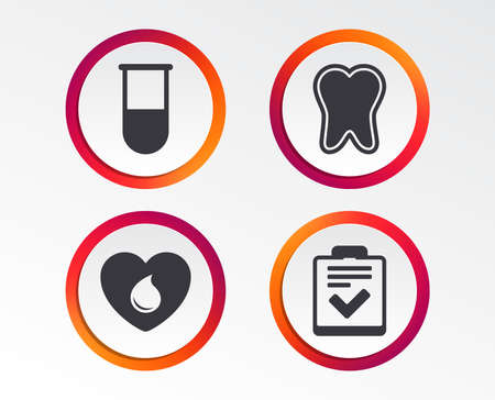 Medical icons. Tooth, test tube, blood donation and checklist signs. Laboratory equipment symbol. Dental care. Infographic design buttons. Circle templates. Vector Standard-Bild - 102060359