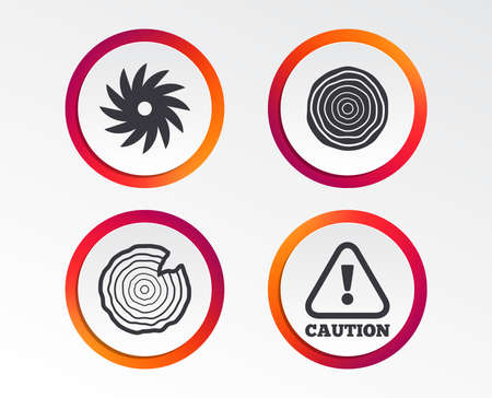Wood and saw circular wheel icons. Attention caution symbol. Sawmill or woodworking factory signs. Infographic design buttons. Circle templates. Vector Standard-Bild - 102060364