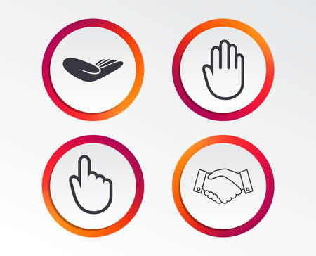 Hand icons. Handshake successful business symbol. Click here press sign. Human helping donation hand. Infographic design buttons. Circle templates. Vector Illustration