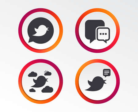 Birds icons. Social media speech bubble. Short messages chat symbol. Infographic design buttons. Circle templates. Vector