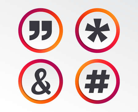 Quote, asterisk footnote icons. Hashtag social media and ampersand symbols. Programming logical operator AND sign. Infographic design buttons. Circle templates. Vector Stock Illustratie