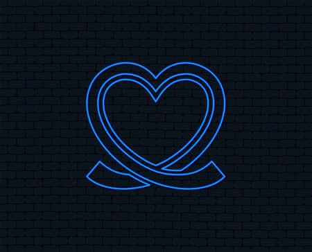 Neon light. Heart ribbon sign icon. Love symbol. Glowing graphic design. Brick wall. Vector