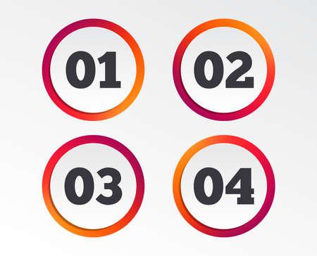 Étape un, deux, trois et quatre icônes. Séquence de symboles d'options. Chargement des signes de processus. Boutons de conception infographique. Modèles de cercle. Vecteur