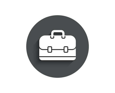 Business case simple icon. Portfolio symbol. Diplomat sign. Circle flat button with shadow. Vector Illustration