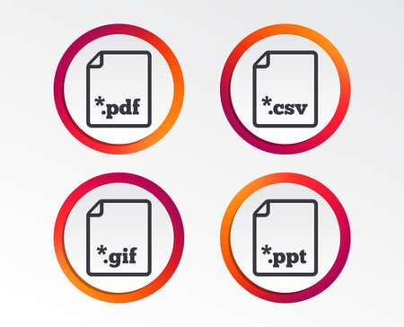 Download document icons. File extensions symbols. PDF, GIF, CSV and PPT presentation signs. Infographic design buttons. Circle templates. Vector Illustration