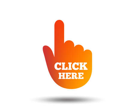 Click here hand sign icon. Press button. Blurred gradient design element. Vivid graphic flat icon. Vector