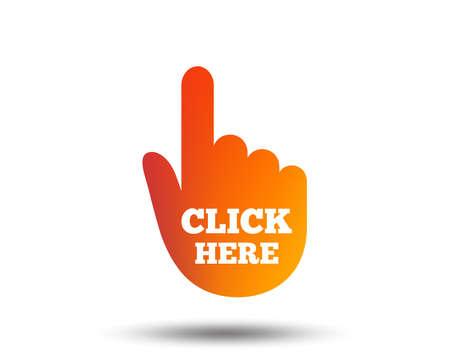 haga clic aquí icono de la muestra de la mano. plantilla de la presentación. diseño gráfico gradiente creativo. icono plana. vector de la muestra Ilustración de vector