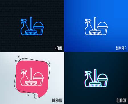 Glitch, Neon effect. Cleaning service line icon. Spray, bucket and mop symbol. Housekeeping equipment sign. Trendy flat geometric designs. Vector 写真素材 - 102060389