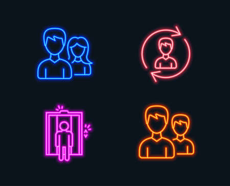 Neon lights. Set of Human resources, Elevator and Teamwork icons. Couple sign. Update profile, Lift, Man with woman. Two male users.  Glowing graphic designs. Vector