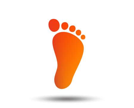 icono de signo de huella del niño . niño símbolo descalzos. botón de diseño gráfico brillante . diseño plano. icono de vector