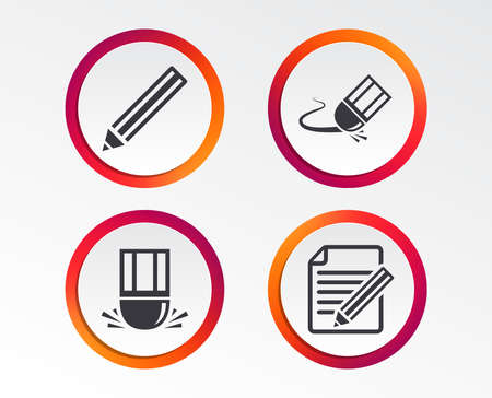 Pencil icon. Edit document file. Eraser sign. Correct drawing symbol. Infographic design buttons. Circle templates. Vector
