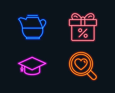 Neon lights. Set of Milk jug, Graduation cap and Discount offer icons. Search love sign. Fresh drink, University, Gift box. Dating service.  Glowing graphic designs. Vector