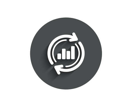 Chart simple icon. Update Report graph or Sales growth sign. Analysis and Statistics data symbol. Circle flat button with shadow. Vector Illustration