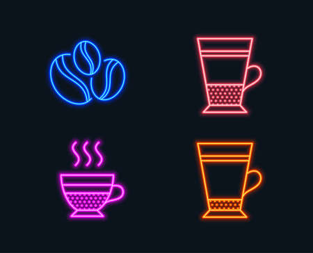 Neon lights. Set of Double latte, Coffee-berry beans and Cafe creme icons. Latte sign. Tea cup, Coffee beans, Hot coffee.  Glowing graphic designs. Vector