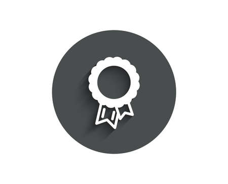 Success simple icon. Winner medal sign. Award reward symbol. Glory or Honor. Circle flat button with shadow. Vector