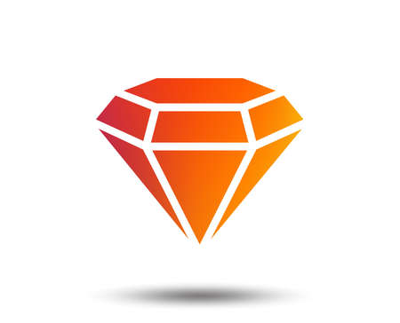Diamond sign icon. Jewelry symbol. Gem stone. Blurred gradient design element. Vivid graphic flat icon. Vector Ilustração