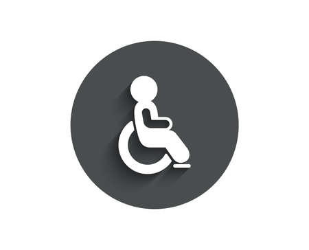 Disabled simple icon. Handicapped wheelchair sign. Person transportation symbol. Circle flat button with shadow. Vector