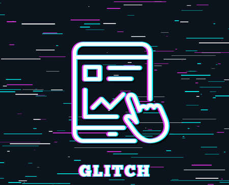 Glitch effect. Online Education line icon. Tablet PC sign. Web presentation with Charts symbol. Background with colored lines. Vector