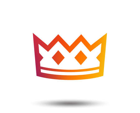 Crown sign icon. King hat symbol. Blurred gradient design element. Vivid graphic flat icon. Vector